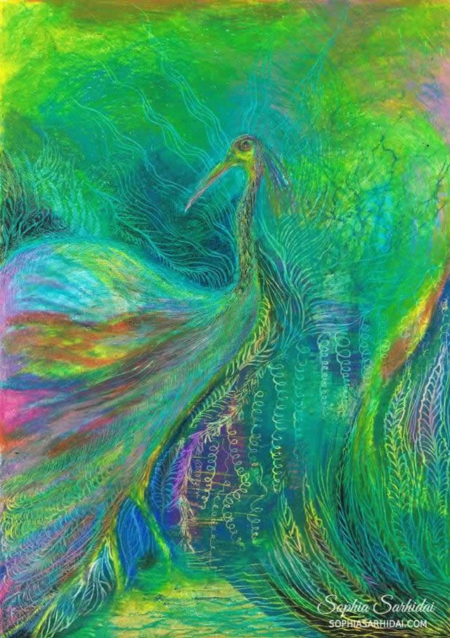 Sophia Sarhidai: Bird oil pastel drawing