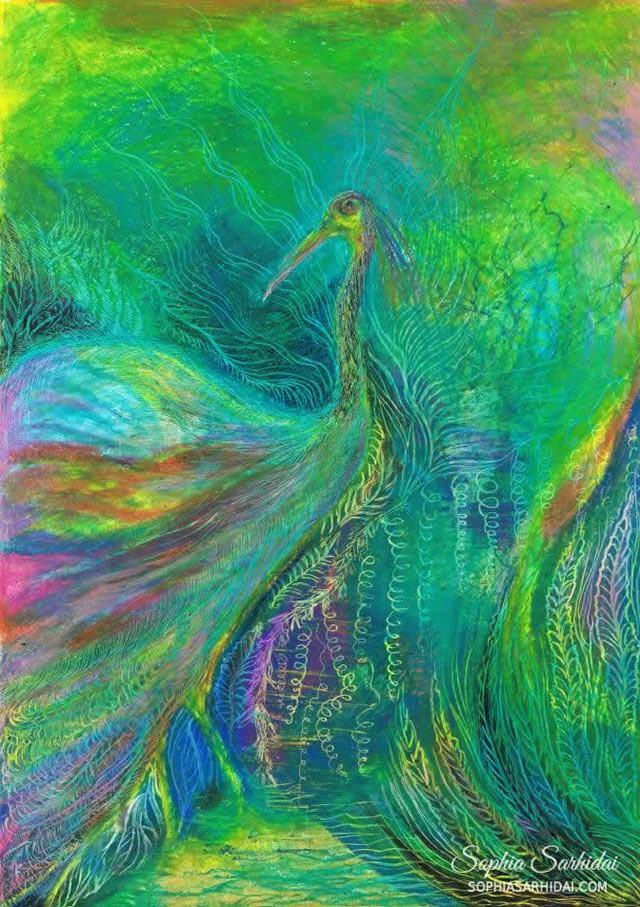 Sophia Sarhidai: Bird oil pastel drawing