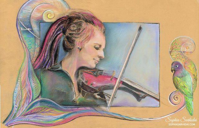 Sophia Sarhidai: Violinist portrait drawing
