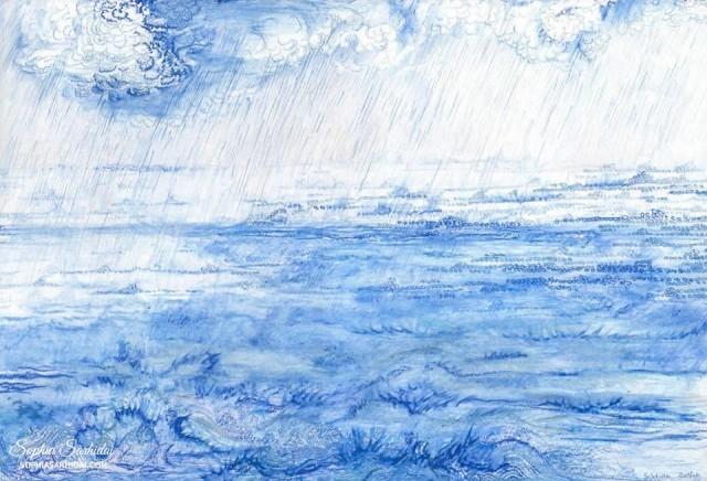 Sophia Sarhidai: Ocean pastel drawing
