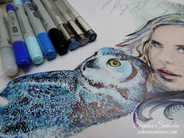 Sophia Sarhidai: Fairy and owl pastel drawing