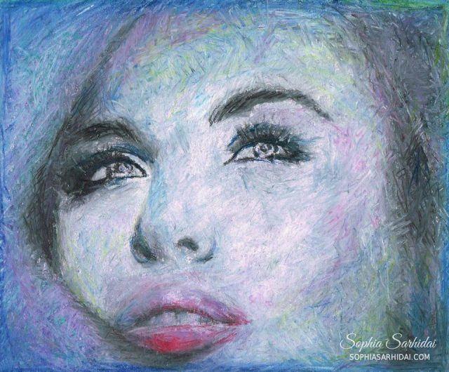 Sophia Sarhidai: Oil pastel portrait drawing